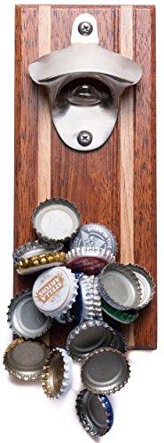 Bruntmor, Capmags Strong Magnetic W/ Zinc Alloy Beer Opener & Magnetic Cap Catcher - Merbau Wood Handmade, A Mancave