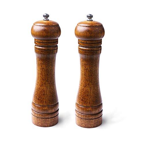 Fastnova Adjustable Ceramic Rotor Salt and Pepper Grinder Manual Oak Dome Wood Pepper Mill and Salt Mill Brown 8 inch Set of 2