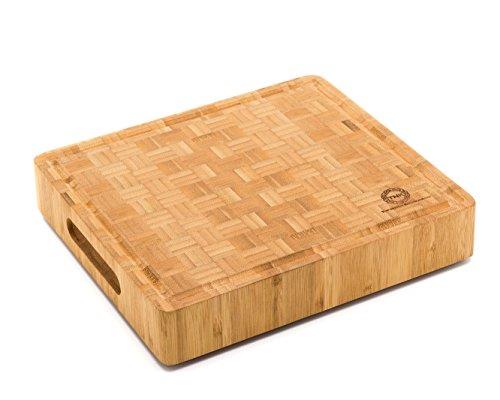End Grain Bamboo Cutting Board | Professional, Antibacterial Butcher Block | Non-slip Rubber Feet