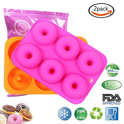 LoveS 2pcs 6-Cavity Silicone Donut Baking PanNon-Stick Donut Mold Dishwasher Oven Microwave Freezer Safe