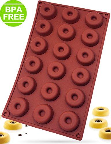 PERNY Mini Donut Pan 18-Cavity Nonstick Silicone Donut Pan