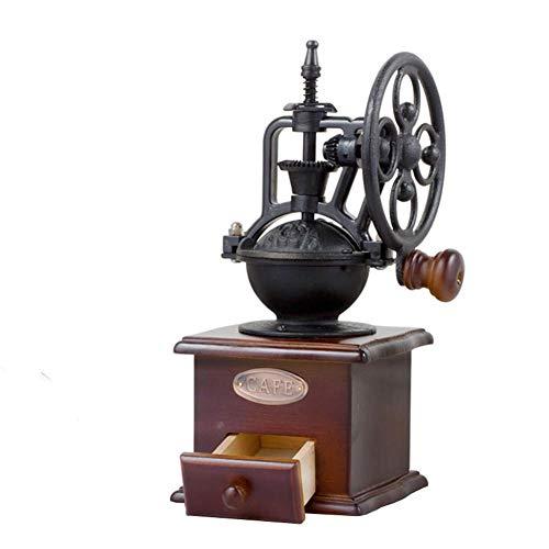 Luckycyc Vintage Hand Coffee GrinderManual Coffee Grinder Vintage Style Wooden Coffee Grinder Roller Grain Mill Hand Crank Coffee Grinder27×115×115cm