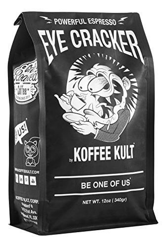 Koffee Kult Eye Cracker Espresso Beans - Bright Bold Medium Roast with a Citrus Twist Coffee 12oz