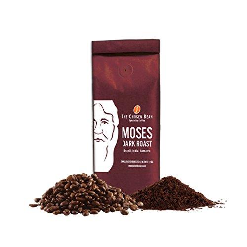 TCB Moses Dark Roast Coffee Beans - Sumatra Monsoon Malabar Brazil Single Origin Blend Smooth Taste - High Quality - Fresh Coffee Beans - Small Batch Roasted Specialty Coffee Ground 12 Ounce