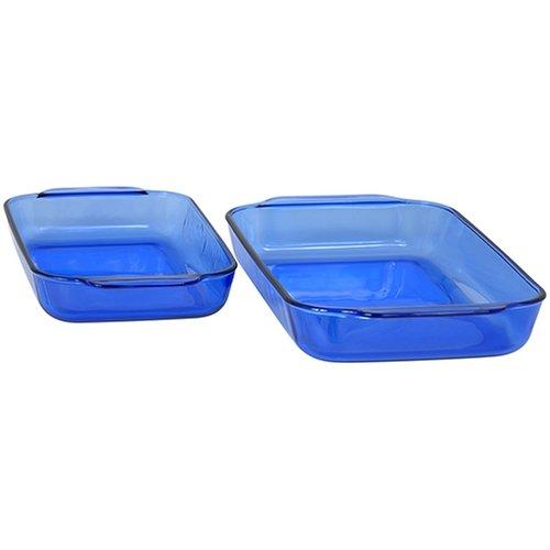 Pyrex Bakeware 2-Piece Rectangular Baking Dish Set Cobalt