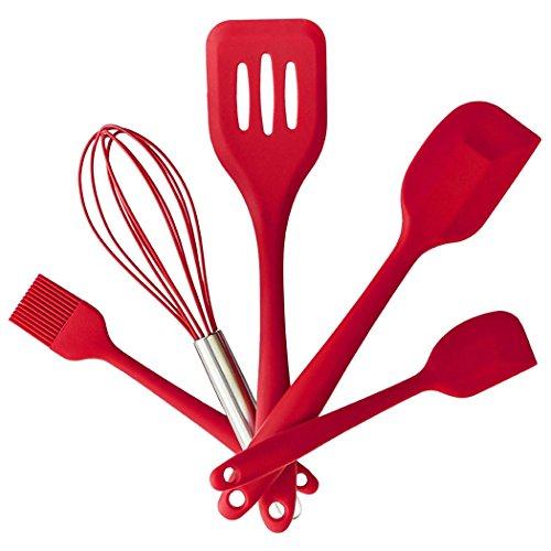 Adidome Silicone Kitchen Utensil Set Kitchenware 5Pcs Silicone Kitchen Utensils Set Turner Spatulas Brush Cooking Tools