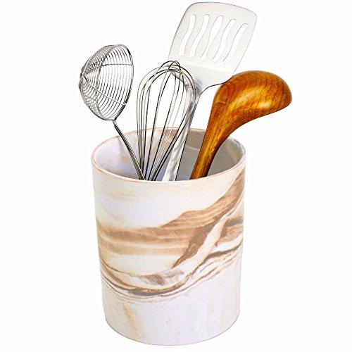 Porcelain Kitchen Utensil Holder 7 Inches Tall - Desert Brown Decorative Marble Crock Utensils Holder Art and Office Supplies Holder - By Marbelous