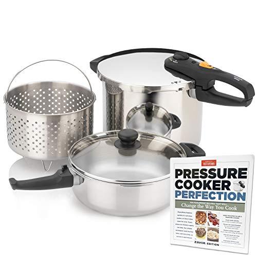 Zavor DUO Combi Pressure Cooker Set 42 84 Quart with Americas Test Kitchen Pressure Cooker Perfection Cookbook