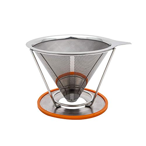 Pour Over Coffee Filter Cone Dripper with Removable Cup Stand - Stainless Steel Coffee Maker - Double Mesh Reusable Filter - No Need For Paper