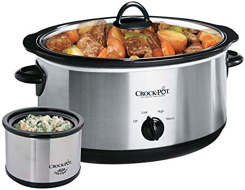 Crockpot SCV803-SS 8 quart Manual Slow Cooker with 16 oz Little Dipper Food Warmer Stainless Steel