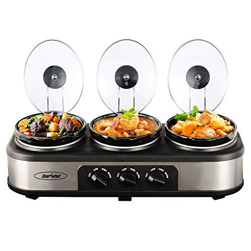 Sunvivi Triple Slow Cooker 3x15 Quart Electric Slow Cooker Buffet Server Food Warmer Crock Pot Adjustable Temp Removable Ceramic Pots Lid Rests