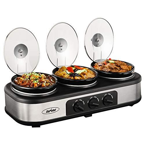 Triple Slow Cooker Buffet Server 3 Pot Crock Pot Food Warmer 45 QT Food Warmer Adjustable Temp Lid Rests Stainless Steel