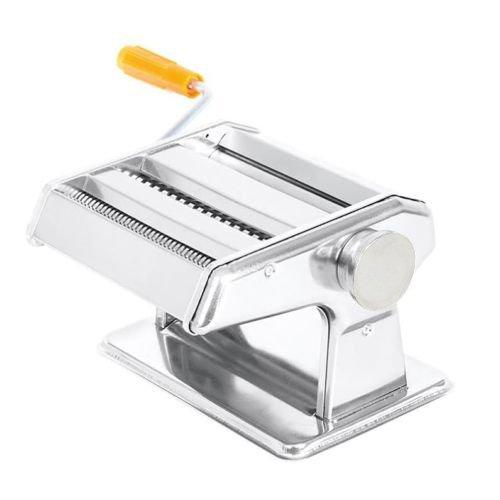 Plixio Stainless Steel Pasta Maker Roller Machine with Feeding Pan - Spaghetti Fettuccine Lasagna Ravioli Maker