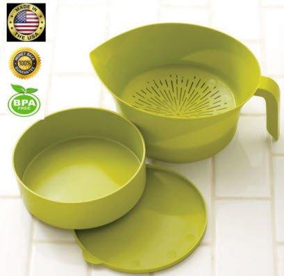 Kitchen Strainer Set Plastic Green 3 Pc High Quality Colander Storage Bowl With Handle