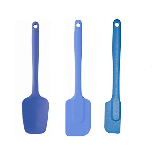 Mastrad Orka Silicone Spatula Spoon Spatula Slim Spatula 3 Piece Set Blue