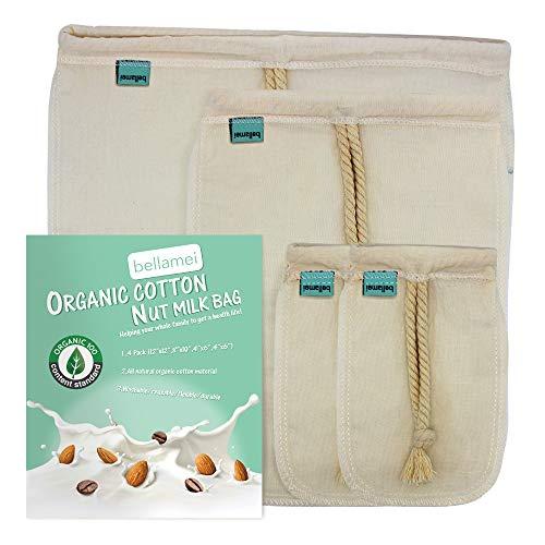 Bellamei Nut Milk Bag Reusable Certified Organic Cotton Food Strainer Colander Nut Bags for Almond MilkJuiceCold Brew CoffeeTeaYogurtCheeseBone BrothSprouting 4 pack - 12x12 8x10 4x6