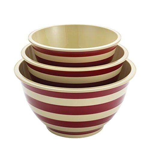 Paula Deen Signature Pantryware 3-Piece Melamine Mixing Bowl Set Red Stripe