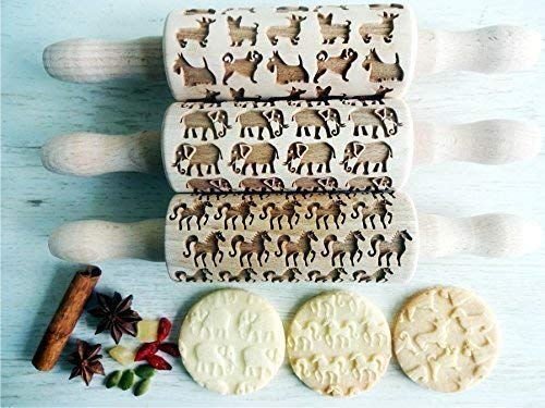 ANIMALS 3 KID Rolling pin SET Wooden Laser Cut Mini Rolling Pins for cookies play dough salt dough or clay Dogs Elephant Horses