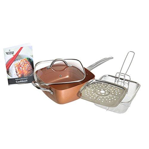 "6-in-1 Cooking Set Versatile 95"" Square Copper Pan with Lid Fry Basket Steamer for Frying Baking Sautéing Roasting Stir-Fry Oven Safe Dishwasher Safe By California Home Goods"
