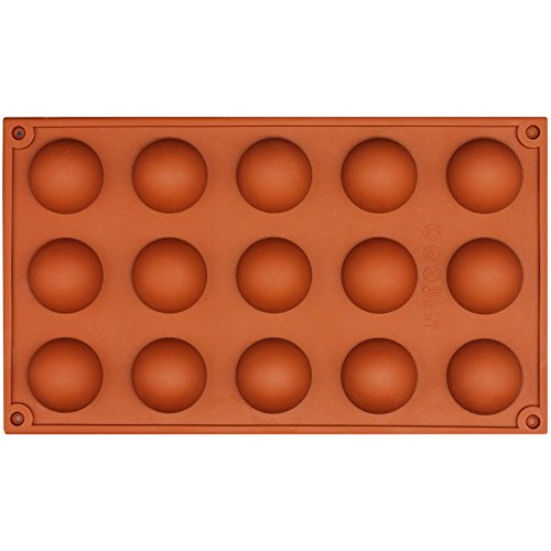 Funshowcase 15 Cavity Semi Sphere Half Round Dome Silicone Mold Chocolate Teacake Baking Tray