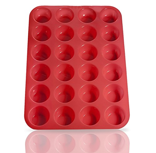 Laminas Silicone Mini Muffin Cupcake Baking Pan 24 Cup Size BPA Free Non Stick Easy To Clean Oven  Microwave  Dishwasher  Freezer safe Heat Resistant Up To 450F Red - Plus Free Recipe eBook