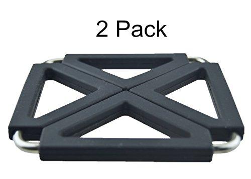 MelonBoat Expandable Silicone Metal Trivet Mat Hot Pot Holder Pads 63 Square Black Set of 2