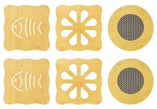 NKTM 6 Pack Bamboo Trivet Mat Set Heavy Duty Hot Pot Holder Pads