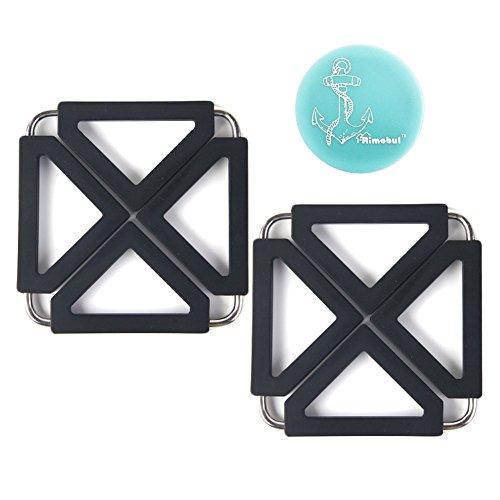 Rimobul Adjustable Silicone Metal Trivet Mat Hot Pot Holder Pads Set of 2 Black