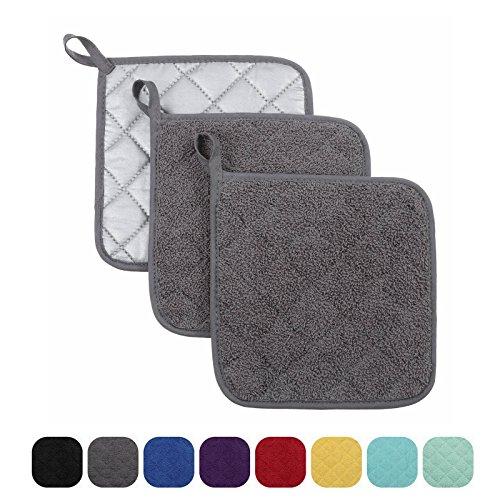 VEEYOO 100 Cotton Pot Holders Hot Pads Quilted Trivet Mats Spoon Rest Heat Resistant 7x7 Gray
