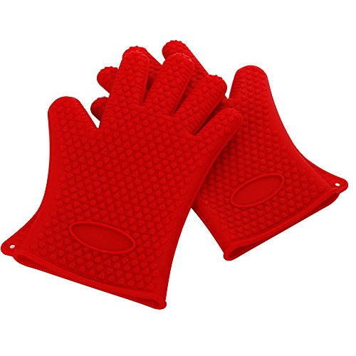 Silicone Oven Mitts Heat Resistant Silicone Glove Kitchen Heatproof Cooking Baking Oven Mitt a Pair Slip-Resistant Heat Resistant Waterproof Red