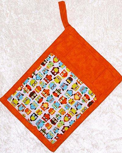 1 Pocket Pot Holder With Hanging Loop - Colorful Orange Turquoise Owls With Orange Batik Accent Fabric