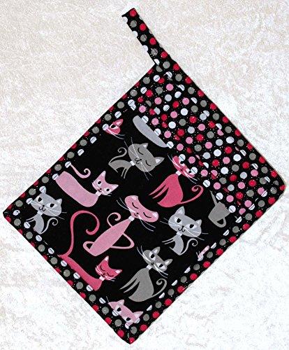 1 Pocket Pot Holder With Hanging Loop - Retro Pink Cats On Black - Glitter Dot - Hot Pad - Potholder