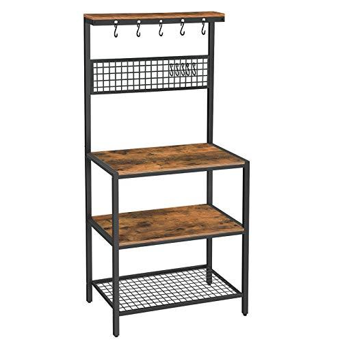 VASAGLE ALINRU Kitchen Bakers Rack Cupboard with 10 Hooks Mesh Panel 3 Shelves and Adjustable Feet for Microwave Oven Cooking Utensils Industrial Rustic Brown UKKS17BX