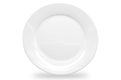"Nucookery 8"" White Dinner Plates – Medium Microwave-Safe Dishwasher-Safe 6pc Ceramic Dinnerware Set 8 inch"
