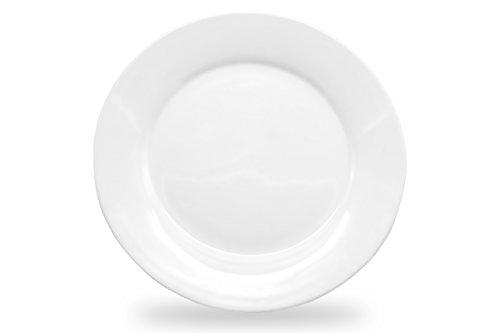 Nucookery 8 White Dinner Plates  Medium Microwave-Safe Dishwasher-Safe 6pc Ceramic Dinnerware Set 8 inch