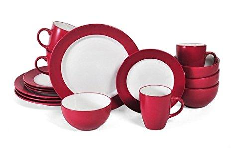 16-Piece Stoneware RedWhite Dinnerware Set Dishwasher And Microwave Safe Dimensions 8x13x11
