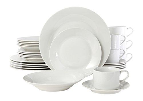 Gibson Rosendal 30 Piece Round White Dinnerware Set White