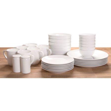 Made of Stoneware 32-Piece Dinnerware Set White