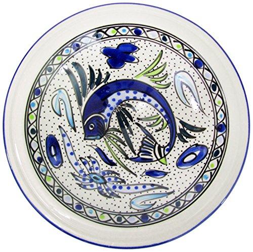 Le Souk Ceramique AF04 Stoneware Small Serving Bowl Aqua Fish