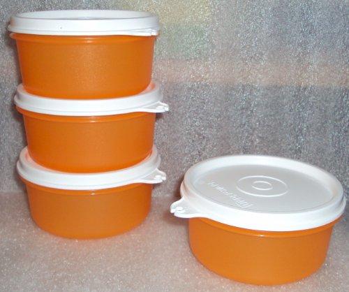 Tupperware Snack Cups 7oz Small Serving Bowls Set4 Orange
