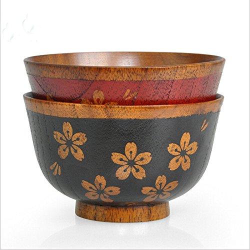 2Pcs Wood Soup Rice Bowl Handmade Flower Wooden Salad Bowls Wood Tablewear Nature life