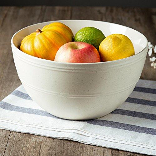 CLG-FLY Large ceramic bowl noodle bowl large bowl bowl Fresh Fruit Salad home8 inches deep white soup