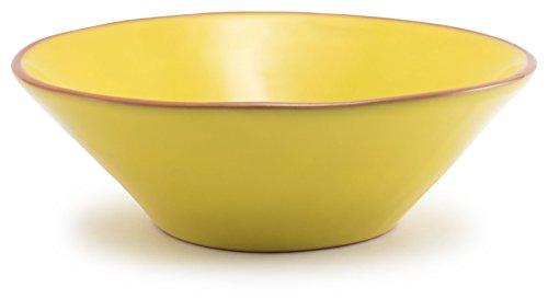 Lemon Yellow Glazed Terracotta Ceramic Fruit Bowl 12Dx4H