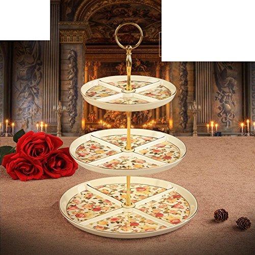 three-tier dessert tray European-style two-tier cake standEnglish afternoon tea ceramic fruit bowl-B