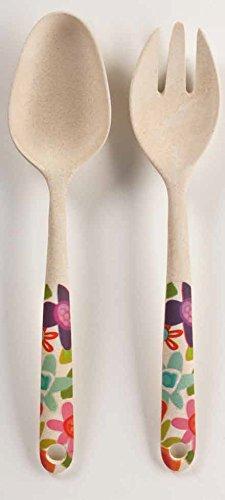 Floral Designer Salad Serving Fork and Spoon Set