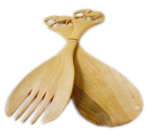 Maisha Fair Trade Hand Carved Decorative Jacaranda Wood Elephant Salad Spoons Servers