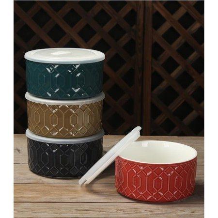 Food Storage Bowl with Lid Set of 4 ORANGEGOLDBLUETEAL