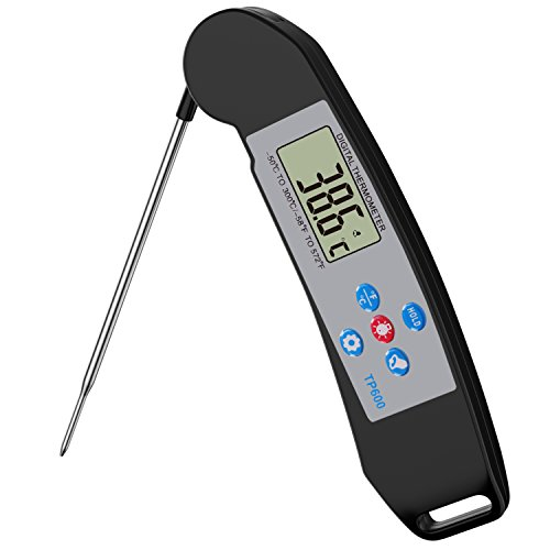 Nuovoware Cooking Thermometer Premium High Precision Digital Instant Read Meat Food Thermometer with Back Light LCD Display Collapsible Probe for Cooking Baking Grill Barbecue Black