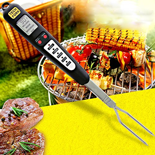 Digital Thermometer Fork BBQ Cooking Probe Thermometer Rapid Read LCD Matrix Thermometer Long Fork for Grilling Barbecue and Cooking in the Kitchen