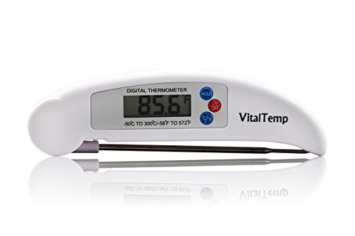 VitalTemp Digital Cooking Thermometer Instant Read Collapsible Probe Hygienic Plastic Design 275 L